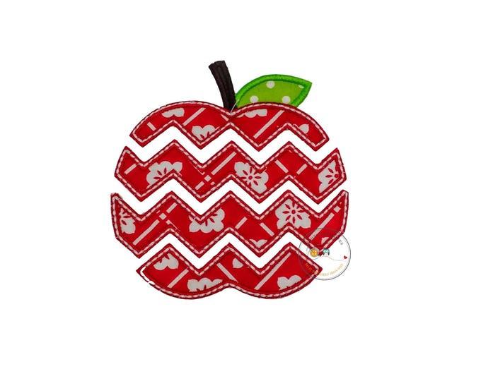 Red and white chevron apple applique