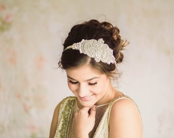 Bridal beaded headpiece - Lilly  (Made to Order)