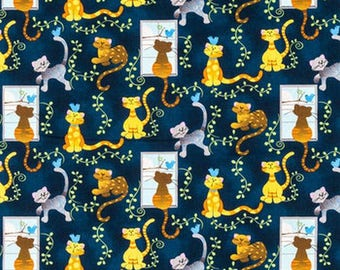Cat Fabric by the Yard, Cat Quilt Fabric, Patty Reed Fabric, Navy Blue Fabric, Tabby Cat Fabric, Orange Cat Fabric, Cotton Fabric