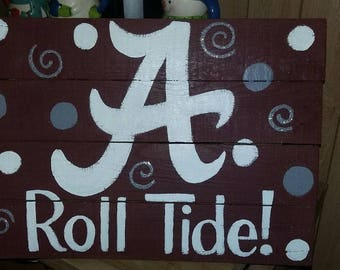 Alabama A roll tide pallet sign, crimson tide dots and swirls wood wall decor, UA fan memorabilia, Alabama football rustic home decor sign