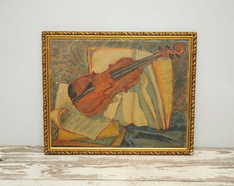 Violin Painting Gold Black Frame SIGNED