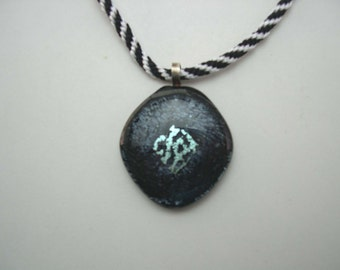 Kumihimo Pendant Necklace, Dichroic jewelry , Fused Glass, Black and White pendant necklace