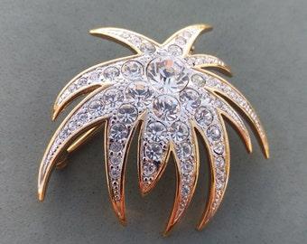 Great Gatsby Glam Antique Rhinestone in gold Wedding, crystal sparkle, gold tone, marked on back, bride, Hollywood, Bali wood,