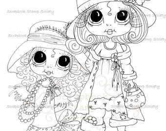 INSTANT DOWNLOAD Digital Digi Stamps Big Eye Big Head Dolls Bestie All Dressed Up Besties By Sherri Baldy