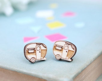 Laser Cut Wooden Caravan Stud Earrings