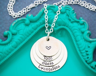 Child Name Necklace • Layered Necklace • Birthday Gift Necklace • Gift from Kids • Gift for Mom • Mom Gift • Mother Necklace