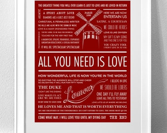 """MOULIN ROUGE, """"All You Need Is Love"""" Typography Print"""