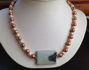 Freshwater Pearls, Amazonite Pendant, Handmade Necklace, Beaded Jewelry, Pearl Necklace, Sunset Designs, Silver Clasp