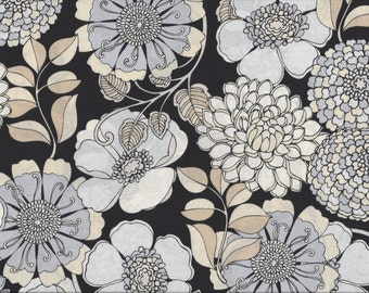 Shades of Grey Floral, 100% Cotton Fabric Sold by Half Yard (23530)