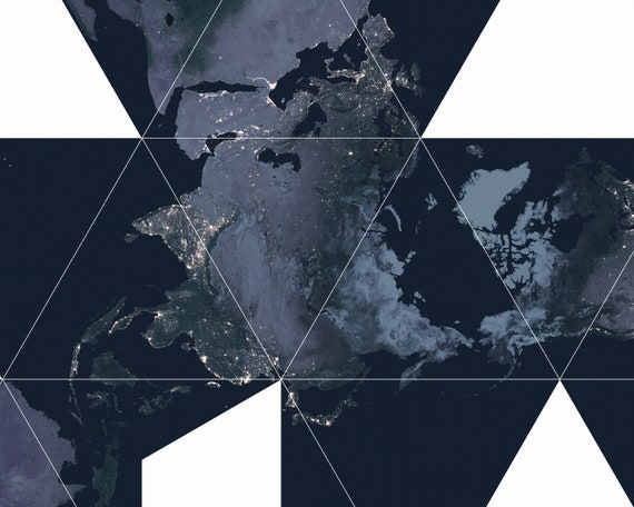 Nasa earth at night poster earth from space buckminster nasa earth at night poster earth from space buckminster fuller dymaxion map world map poster gumiabroncs Choice Image