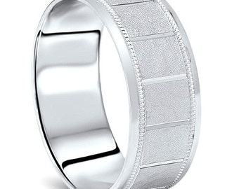 Mens Hammered White Gold Wedding Band Milgrain Ring 8mm