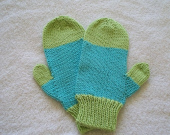 Lime green and light turquoise adult mittens