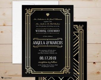 Great Gatsby Inspired Wedding Invitations, Art Deco Wedding Card, 1920s Wedding Invitation, Glam Wedding Card, Vintage Wedding Invitations
