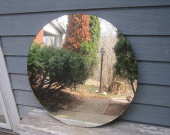 "Vintage Huge 34"" Mid Century Modern Round Frameless Glass Wall Hanging Mirror"