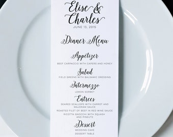 Wedding menus printed menus wedding dinner menus wedding wedding menus printed dinner menus wedding menu cards wedding reception menu wedding decor modern calligraphy menu napkin menu insert junglespirit Choice Image