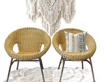 Mid Century Modern Rattan Hoop Chairs PAIR Wicker Lounge Arm Chairs  Bohemian Decor Jungalow Decor PAIR