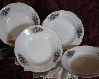 Set of 4 Porcelain  Soup Bowls - Purple, White, and Yellow Daisies, Made in China