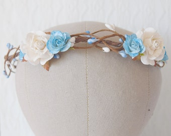 Blue Rose Flower Circlet, rose and pip flower crown, bridal hair accessories, wedding hair accessories, flower crown floral crown, -AURORA-