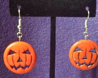 Orange Pumpkin, Jack-O-Lantern Halloween Earrings Handmade