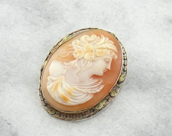 Gorgeous Antique Shell Cameo in Yellow and Green Gold Frame Z15ZLC-P