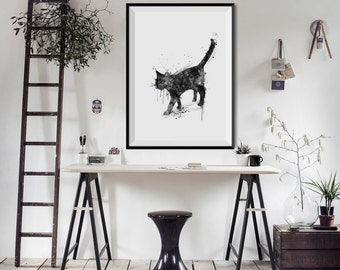 BLACK CAT Watercolor Art Print Birthday Gift Home Animal Ink illustrations Art Print Wall Poster Wall Decor Art Home christmas gift (Nº3)