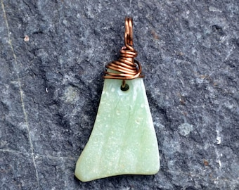 FREE SHIPPING Light green milk glass with antiqued brass wire wrapping