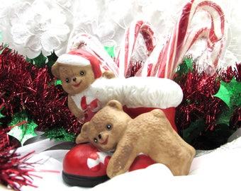 Teddy Bear Candy Cane Holder, House of Lloyd Candy Cane Holder, Boot and Teddys Candy Cane Holder