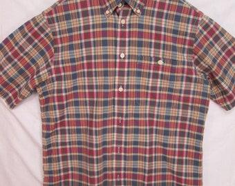vintage, Orvis non bleeding Indian madras button down short sleeve mens shirt size M