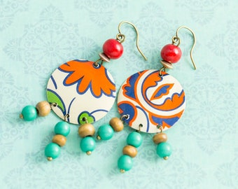 Colorful Bohemian Vintage Tin Chandelier Earrings with Vintage Wooden Beads, Boho Chic Jewelry, Boho Jewelry