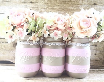 Set of 3 Hand Painted Gold and Pink Mason Jars, Wedding Centerpieces, 1st Birthday Decor, Baby Shower Decor, Nursery Decor, Rustic Decor!