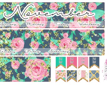 November Monthly View - Monthly Layout Planner Stickers Horizontal & Vertical for ECLP, Navy and Pink Floral