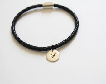 Leather Bracelet with Sterling Silver Cursive F Letter Charm, Bracelet with Silver Letter F Pendant, Initial F Charm Bracelet, F Bracelet