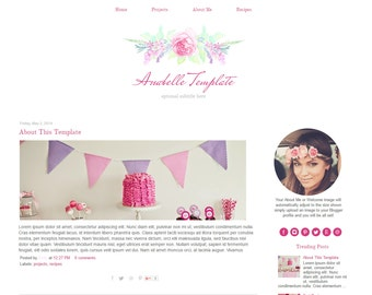 Pink Blogger Template - Vintage Flower Blog Template - Watercolor - Responsive - Instant Download