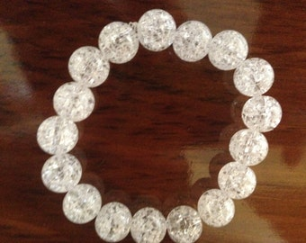 White Beaded Stretch Bracelet