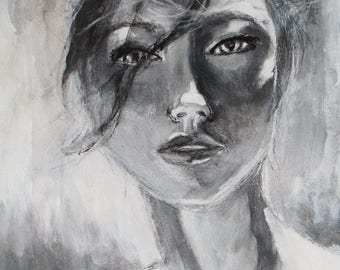 Elizabeth - a limited edition original art print on Giclee  archival paper girl painting charcoal acrylic black and white artwork giclee art