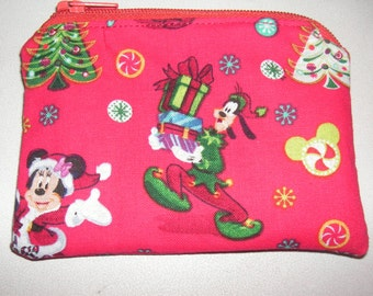 Goofy dog handmade zipper fabric coin change purse card holder