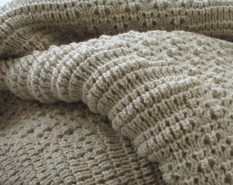 "Knitted Afghan, Throw Blanket, ""Stone"""