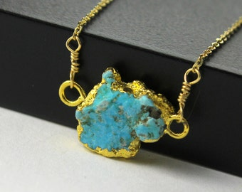 Raw Turquoise Necklace - 22K Gold Vermil Pendant - Rough Turquoise - December Birthstone - Rough Gemstone