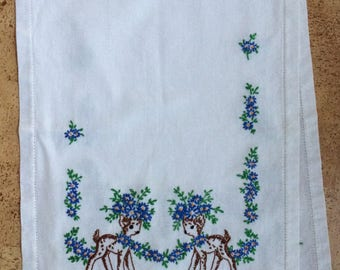 Embroidered Table Runner With Deer And Flowers