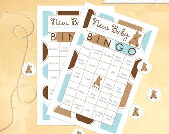 Baby Shower Bingo 60 Cards Teddy Bear - Instant Download