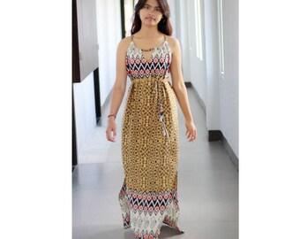 Summer Maxi Dress / Yellow Mustard Dresses / Tribal Dress in Yellow, Black and Orange / Womens Dresses / Ikat Pattern Maxi Dress