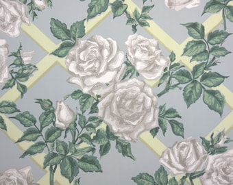 1940s Vintage Wallpaper by the Yard - Floral Wallpaper with White Cabbage Roses and Yellow Lattice with Green Leaves on Blue
