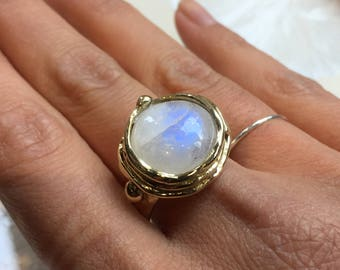 Solid gold Moonstone ring, 14k gold ring, white gemstone engagement ring, organic solid gold ring, statement ring - Notorious Wind RG1470