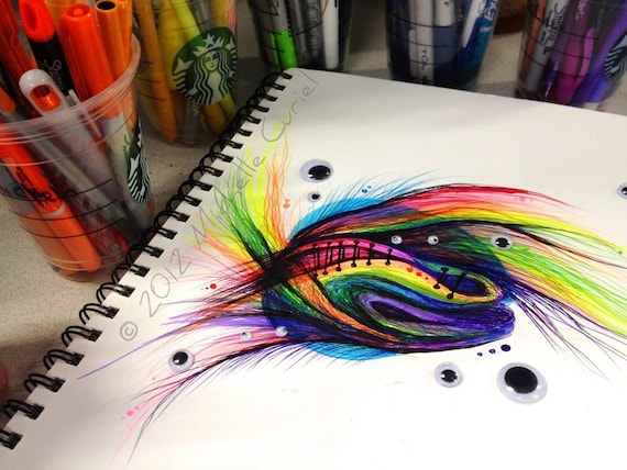 Untitled Rainbow Doodle - 9 x12 Original art (unframed in a 11x14 matt)