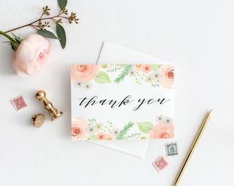 INSTANT DOWNLOAD Vintage Blush Peonies Thank You Card, Digital Download, Watercolor Florals, Printable Thank You
