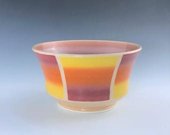 Orange Ceramic Bowl, Soup Bowl, Cereal Bowl, Porcelain Bowl, Candy Dish, Pottery Soup Bowl, Orange Yellow Pink Ombré Bowl, Pottery Bowl