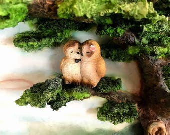 Miniature Owl Couple - Tan and Brown
