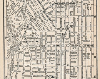 1925 Pasadena California Antique Map