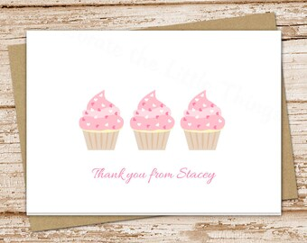 cupcake thank you cards . pink cupcake . folded personalized note cards notecards stationery stationary . sweet shop hearts . printable