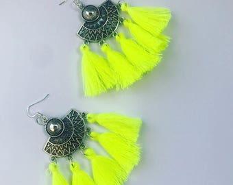 Ethnic earrings neon yellow agate